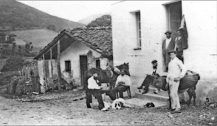 Basque Countrymen near the France-Spain border in 1898, with characteristic horse, donkey and dogs. These were the type of animals introduced to America. 1898 urtoko pottoka eta artzanora.jpg
