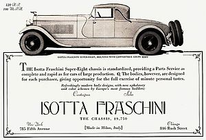 Isotta Fraschini Tipo 8A - Image: 1928 Isotta Fraschini Tipo 8A half page ad