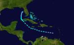 1933 Atlantika tropika ŝtormo 7 track.png