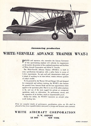 Verville Sport Trainer AT - Advertisement of the White-Verville Advanced Trainer (WVAT-1) from 1939, just after White purchased the rights to the design.