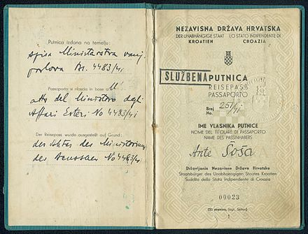 Diplomatic passport issued in 1941 to Ante Sosa, employee of NDH's consulte in Vienna 1941 PASSPORT.jpg