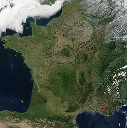 Emplacement du site de Cadarache en France