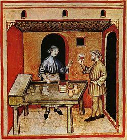 Mescita di vino rosso, Tacuinum sanitatis casanatensis (XIV secolo)