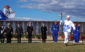 2002 Winter Olympics torch relay - The flame during a ceremony at The Pentagon.