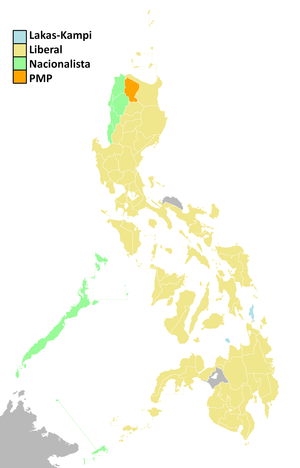 Philippine general election, 2010 - Parties that had the plurality of votes in each province.