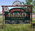 2014-06-09 14 48 37 Elko Welcome Sign at the end of Mountain City Highway in Elko, Nevada.JPG