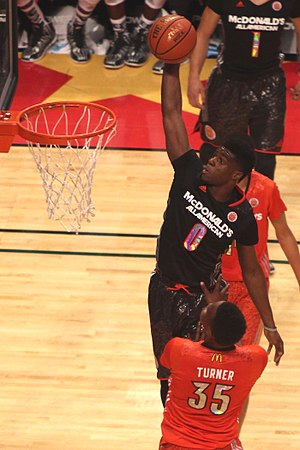 Emmanuel Mudiay - Mudiay dunking over Myles Turner in the 2014 McDonald's All-American Boys Game