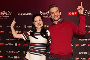 United Kingdom in the Eurovision Song Contest 2015 - Electro Velvet during a press conference