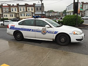 2016-05-11 18 45 30 Baltimore City Police Car at the intersection of Franklin Street (U.S. Route 40) and Franklintown Road in Baltimore City, Maryland