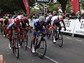 2018 Tour of Britain stage 3 155 Mads Schmidt, 022 Paddy Bevin, 192 Julian Allaphilippe, 081 Emils Leipins and 163 Ethan Hayter.JPG