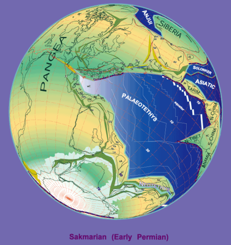 Geography of the Permian world 280 Ma plate tectonic reconstruction.png