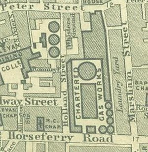 2 Marsham Street - The Chartered Gas Works of the Westminster Gas Light and Coke Company, on what is now the site of the Home Office at 2 Marsham Street, as indicated in the 1862 Edward Stanford map of London