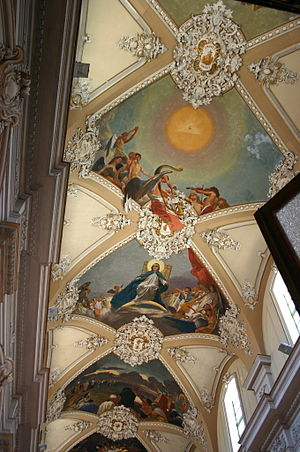 Basilica della Collegiata - Vault frescoes in the interior.