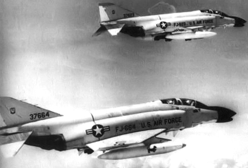 390th Tactical Fighter Squadron F-4Cs flying over Vietnam
