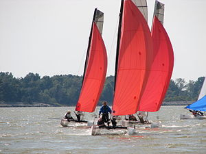 Three catamarans with red sails.