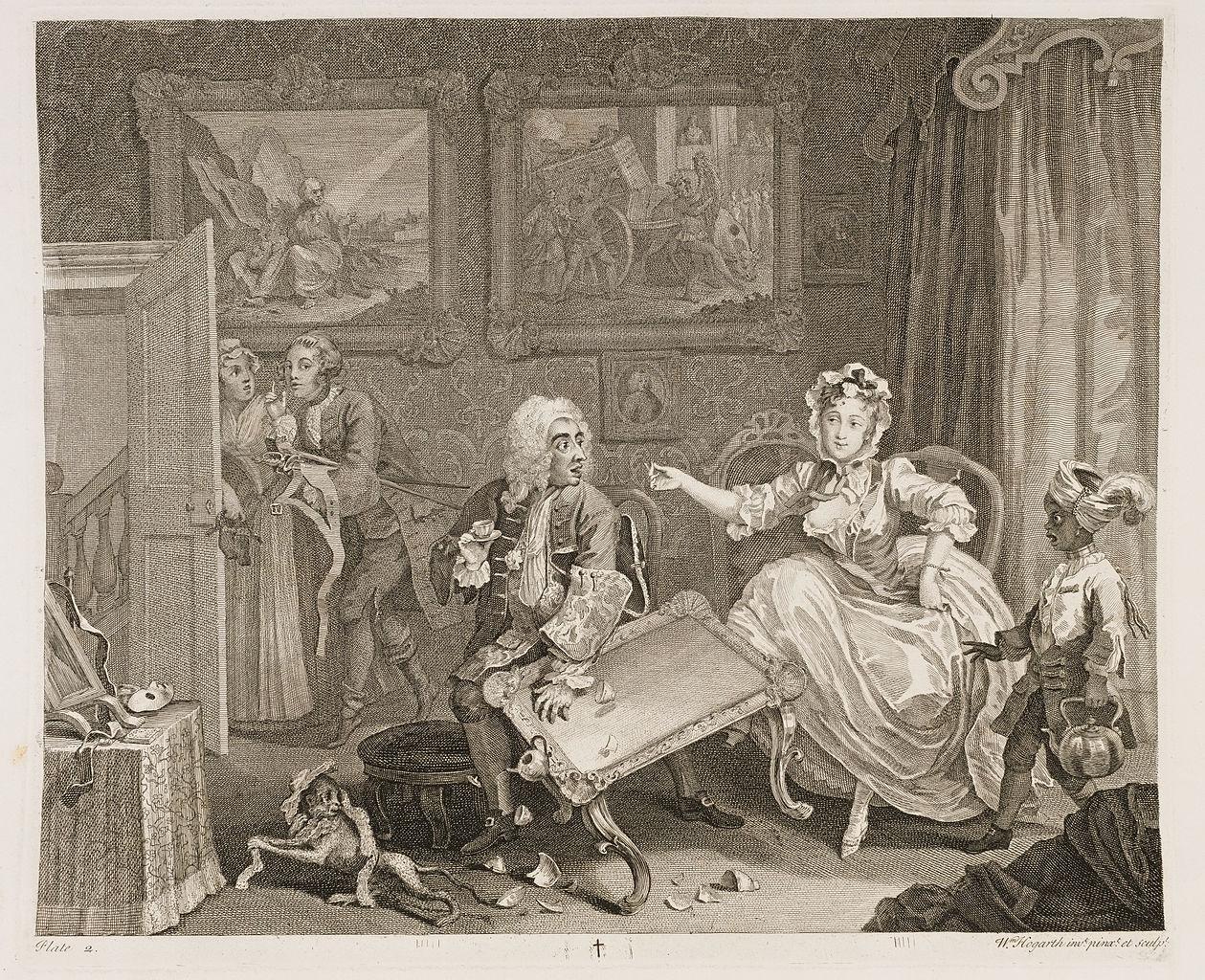 William Hogarth: A Harlot's Progress, Plate 2.