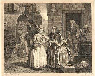 Augusta Triumphans - A Harlot's Progress, Plate 1 (1732), etching an engraving by William Hogarth