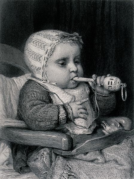 File:A baby sits in a chair chewing a rattle. Engraving by A&E. V Wellcome V0039341.jpg
