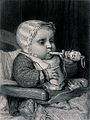 A baby sits in a chair chewing a rattle. Engraving by A&E. V Wellcome V0039341.jpg