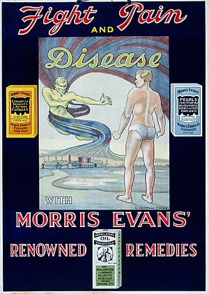Wilfred Mitford Davies - Colour lithograph incorporating a design by Wilfred Mitford Davies. It is advertising the use of Morris Evans' remedies, which were manufactured in Ffestiniog, North Wales.