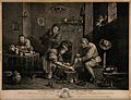 A rural surgeon treating a male patient's foot, in the backg Wellcome V0016746.jpg