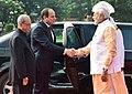 Abdel Fattah el-Sisi being received by the President, Shri Pranab Mukherjee and the Prime Minister, Shri Narendra Modi, at the Ceremonial Reception, at Rashtrapati Bhavan, in New Delhi (1).jpg