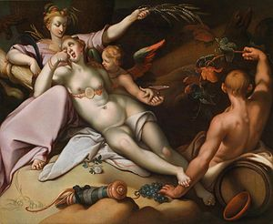 Sine Cerere et Baccho friget Venus - Abraham Bloemaert, early 17th century