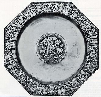 Byzantine silver - The Achilles Platte. The ten scenes of life prior to the Trojan War on shown around the border. The center image appears to be a training scene. This item was discovered in the early 1960s, about six miles from Basel, Switzerland.