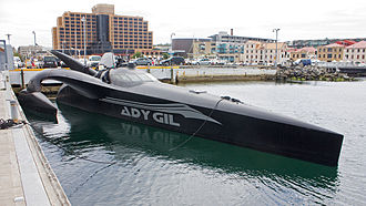 Sea Shepherd Conservation Society operations - The Ady Gil docked for repairs in Hobart, Tasmania.