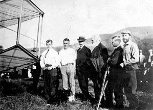 Aerial Experiment Association - Aerial Experiment Association members Casey Baldwin, Tom Selfridge, Glenn Curtiss, Alexander Graham Bell, John McCurdy and Augustus Post serving as observer from Aero Club of America.