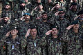 Afghan National Army soldiers with the 215th Corps salute as the Afghan national anthem is played during a ceremony commemorating the 94th anniversary of Afghanistan's independence from Britain at Camp Shorabak 130819-M-RF397-041.jpg