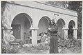 Akseli Gallen-Kallela in a monk´s robe, wife Mary, son Jorma and Mary´s mother Aina Slöör at Tarvaspää´s colonnade, 1928. (14542298310).jpg