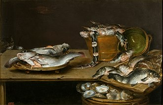 Alexander Adriaenssen - Still life of table with fish, oysters and a cat