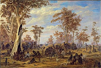 River Torrens - Alexander Schramm, A Tribe of Natives on the Banks of the River Torrens, 1850