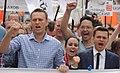 Alexey Navalny, Anna Veduta and Ilya Yashin at Moscow rally 2013-06-12.JPG