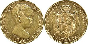 Alfonso XIII of Spain - As he was born king, early coins from Alfonso's reign, such as this 20 pesetas from 1889, featured his portrait as a baby.
