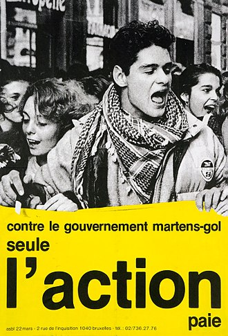 Wilfried Martens - Poster calling for civil disobedience against the Martens government