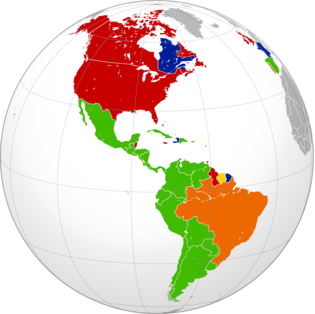 The approximate present-day distribution of Indo-European languages within the Americas by country: Romance: Spanish Portuguese-Galician French Germanic: English Dutch Americaslanguages (orthographic projection)-2.png