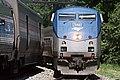 Amtrak trains passing at L'Enfant Plaza station, May 2015.jpg
