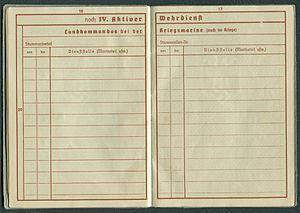 Amtsdokument Paul Fischer 1937 Leutnant Wehrpass Luftwaffe Seite 18 19 Landkommandos bei der Kriegsmarine auch im Kriege.jpg