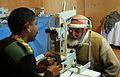 An eye check at the Egyptian Field Hospital, Bagram.jpg