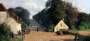 Lyngby Kongevej - The King's Eoad (Kongevejen) at Geel's Hill, Holte. Painting by Andreas Juuel