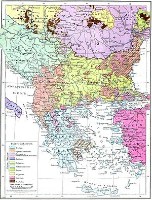 Balkan sprachbund - Ethnic composition map of the Balkans from Andrees Allgemeiner Handatlas, 1st Edition, Leipzig 1881