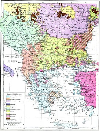Eastern Rumelia - Ethnic composition map of the Balkans from Andrees Allgemeiner Handatlas, 1st Edition, Leipzig 1881.