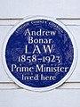 Andrew BONAR LAW 1858-1923 Prime Minister lived here.jpg