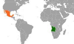 Mapa indicando a localização de Angola e México