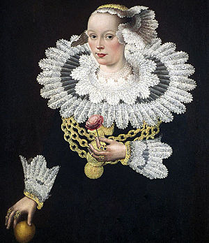 Ruff -  A seventeenth-century painting of a woman wearing a ruff, the decorative collar from which the English name of the bird is derived.