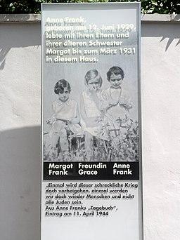 Anne Frank Memorial Plate Frankfurt 2009