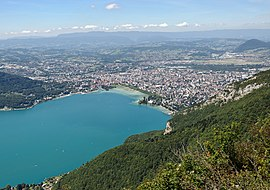 Panoramic sight of Annecy andLake Annecy.