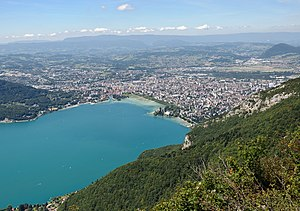 Annecy - Panoramic sight of Annecy and Lake Annecy.